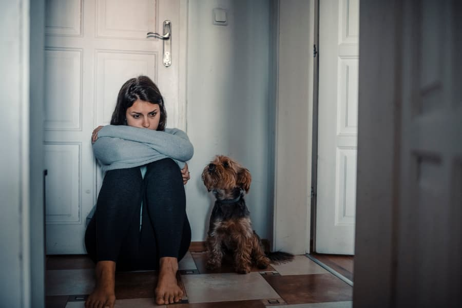 Woman sitting on floor next to dog